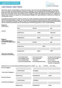 Dr.Thomas Schroeder Zahnarztpraxis Implantologie & Laserheilkunde Hamm Anmeldebogen
